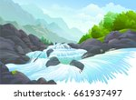 a stream of water flowing over...   Shutterstock .eps vector #661937497