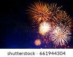fireworks in sky twilight.... | Shutterstock . vector #661944304