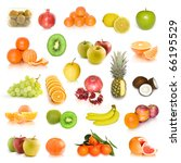 fruit collection isolated on... | Shutterstock . vector #66195529
