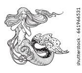 beautiful mermaid girl sitting... | Shutterstock .eps vector #661966531