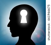 human head with a keyhole.... | Shutterstock .eps vector #661966675