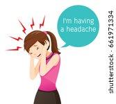 working woman terrible headache ... | Shutterstock .eps vector #661971334