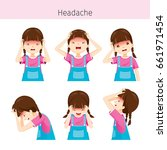 girl with different headache... | Shutterstock .eps vector #661971454