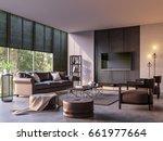 modern loft living room with...   Shutterstock . vector #661977664