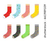 design colorful socks set... | Shutterstock .eps vector #661989109