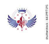 victorian winged emblem...   Shutterstock .eps vector #661997191