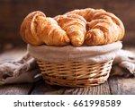 Fresh Croissants In A Basket O...