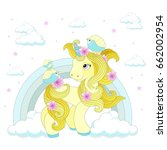 cute unicorn on a rainbow on a... | Shutterstock .eps vector #662002954