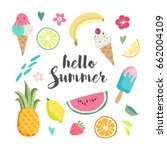 summer set with hand drawn... | Shutterstock .eps vector #662004109