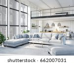 3d rendering. loft apartment... | Shutterstock . vector #662007031