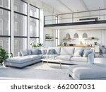 3d rendering. loft apartment...   Shutterstock . vector #662007031
