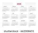 calendar for 2018 year on white ... | Shutterstock .eps vector #662008651