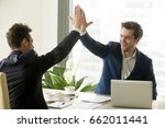 businessman giving high five to ... | Shutterstock . vector #662011441