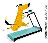 fast running dog on treadmill.... | Shutterstock .eps vector #662014951