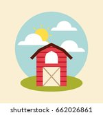 farm circle background flat | Shutterstock .eps vector #662026861