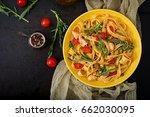 pasta fettuccine with tomato ...   Shutterstock . vector #662030095