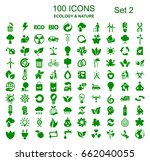 set 2 of 100 ecology icons  ... | Shutterstock .eps vector #662040055