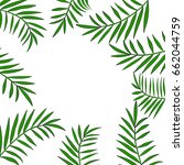 palm tree leaves frame or... | Shutterstock .eps vector #662044759