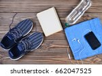 sports accessories are spread... | Shutterstock . vector #662047525
