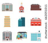 set of city elements color flat ... | Shutterstock .eps vector #662051011