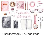 office business stationery set. ... | Shutterstock . vector #662051935