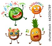 funny fruit characters isolated ... | Shutterstock .eps vector #662056789