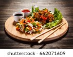 chinese food with chicken | Shutterstock . vector #662071609
