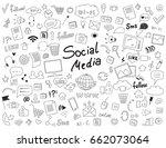 hand drawn set of social media... | Shutterstock .eps vector #662073064