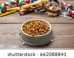 Stock photo pet accessories food toy top view 662088841