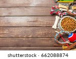 Stock photo pet accessories food toy top view 662088874