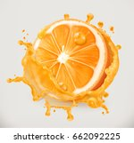 orange juice. fresh fruit  3d... | Shutterstock .eps vector #662092225