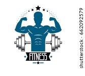 bodybuilding weightlifting gym... | Shutterstock .eps vector #662092579