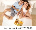 young couple eating the... | Shutterstock . vector #662098831