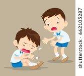 sad student boy having bruises... | Shutterstock .eps vector #662105287