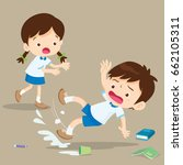 student boy falling on wet... | Shutterstock .eps vector #662105311
