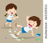 student boy falling on wet... | Shutterstock .eps vector #662105311