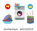 unwashed and washed clothes... | Shutterstock .eps vector #662122315