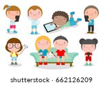 kids with gadgets  kids... | Shutterstock .eps vector #662126209
