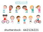 kids exercising  children... | Shutterstock .eps vector #662126221