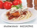 chicken parmesan with melted... | Shutterstock . vector #662142961