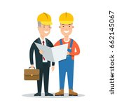 flat building foreman and... | Shutterstock .eps vector #662145067
