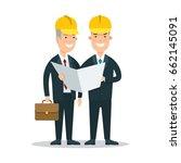 flat two smiley businessmen in... | Shutterstock .eps vector #662145091