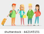 flat smiley teens with baggage  ... | Shutterstock .eps vector #662145151