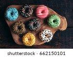 mini american donuts on wooden...   Shutterstock . vector #662150101