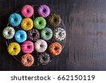 glazed sweet mini donuts on...   Shutterstock . vector #662150119