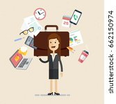 business woman's working day.... | Shutterstock .eps vector #662150974