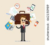 businessman's working day. man... | Shutterstock .eps vector #662150989