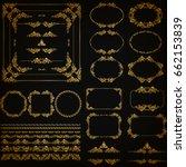 set of gold decorative hand... | Shutterstock .eps vector #662153839