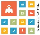 set of 12 stationery icons set... | Shutterstock .eps vector #662156344