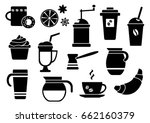 black and white set on coffee... | Shutterstock .eps vector #662160379